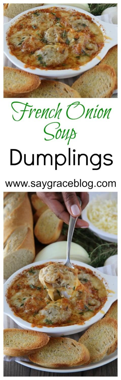 French Onion Soup Dumplings (Bistro 82 Copycat} | Say Grace