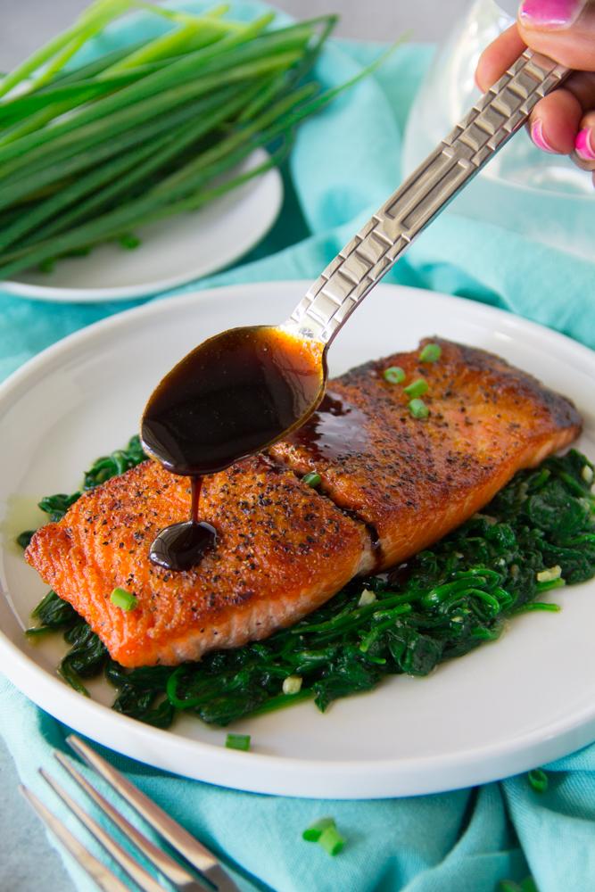 Pan Seared Balsamic Glazed Salmon Say Grace